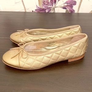 SOLD—-CHANEL Leather Ballet Flats